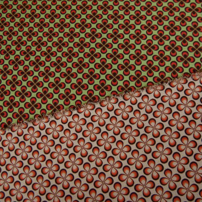 Coupon x 55 cm - Tissu néoprène réversible fleurs vert