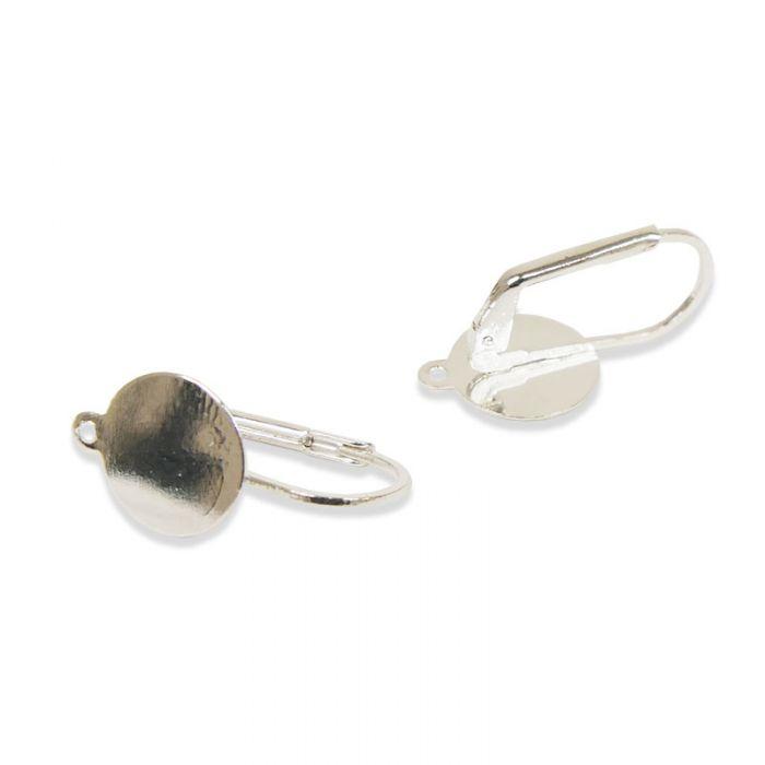 Boucles d'oreilles dormeuses plateau 10mm argent x2