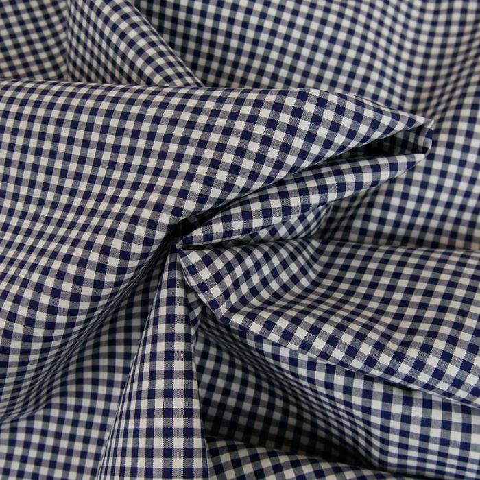 Coupon x 90 cm - Tissu coton carreaux vichy marine