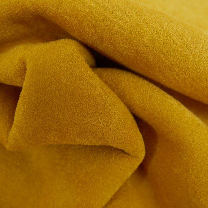 Coupon x 30 cm - Tissu suédine envers fourrure mouton moutarde