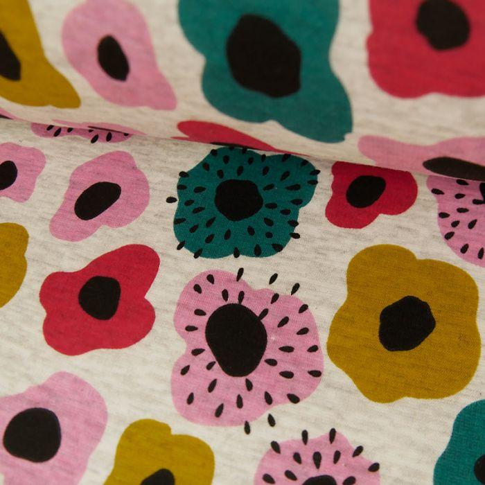Coupon x 1 m - Tissu Molleton Sweat Fleurs Gris Chiné