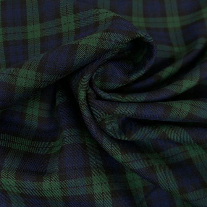 Coupon x 50 cm - Tissu Polyviscose Ecossais Bleu et Vert