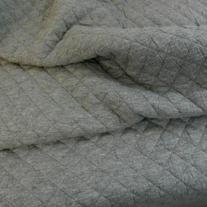 Coupon x 1,20 m - Jersey matelassé coton gris chiné