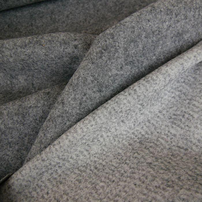 Coupon x 65 cm - Tissu drap de laine haute couture gris