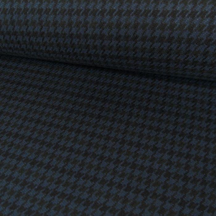 Coupon x 1,35 m - Tissu coton épais pied de poule bleu