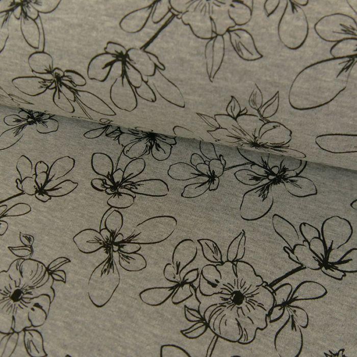Coupon x 40 cm - Tissu jersey sweat fleurs gris