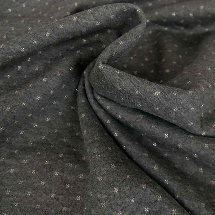 Coupon x 80 cm - Jersey matelassé réversible gris foncé or