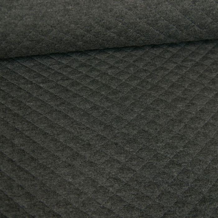 Coupon x 50 cm - Jersey matelassé coton gris anthracite
