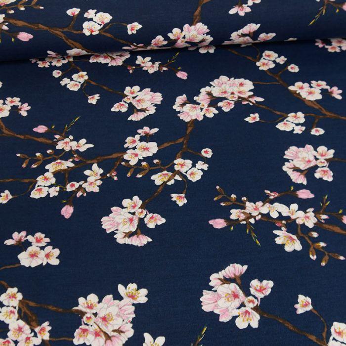 Coupon x 50 cm - Tissu jersey fin fleurs japonaises bleu