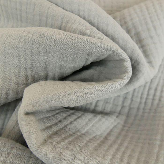 Tissu triple gaze - gris clair x 10 cm