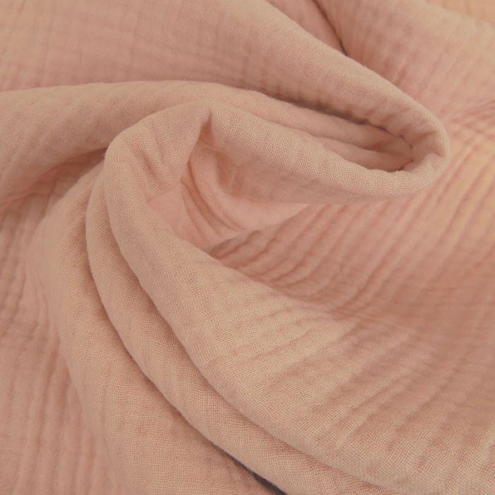 Tissu triple gaze - rose poudre x 10 cm