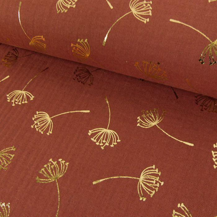 Tissu double gaze pissenlits dorés - rouille x 10cm