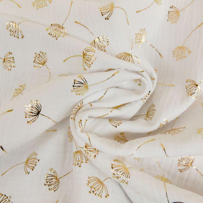 Tissu double gaze pissenlits dorés - blanc x 10cm