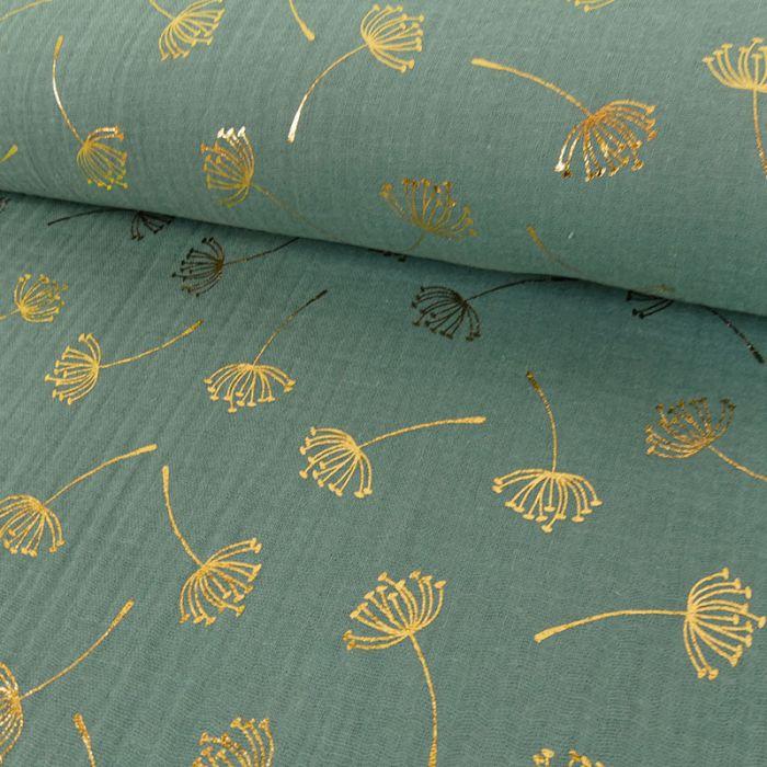 Tissu double gaze pissenlits dorés - eucalyptus x 10cm