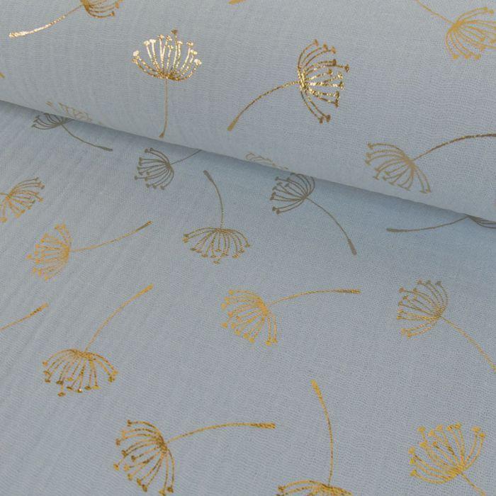 Tissu double gaze pissenlits dorés - bleu ciel x 10cm
