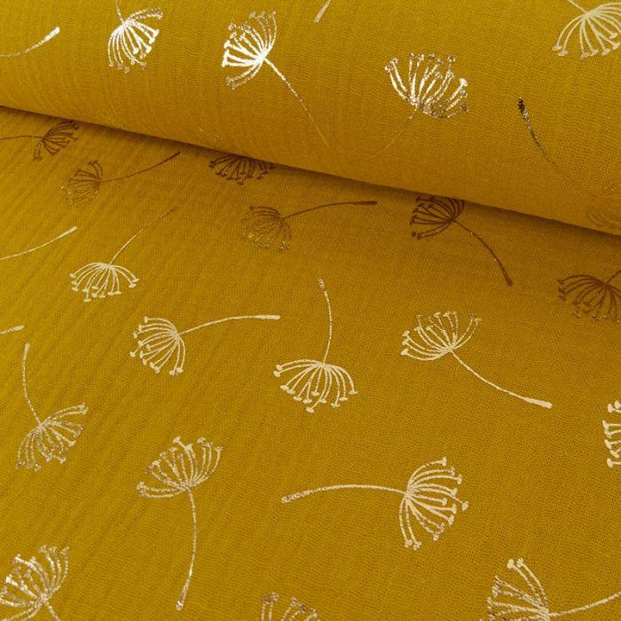 Coupon double gaze pissenlits dorés moutarde - 50 X 130 cm