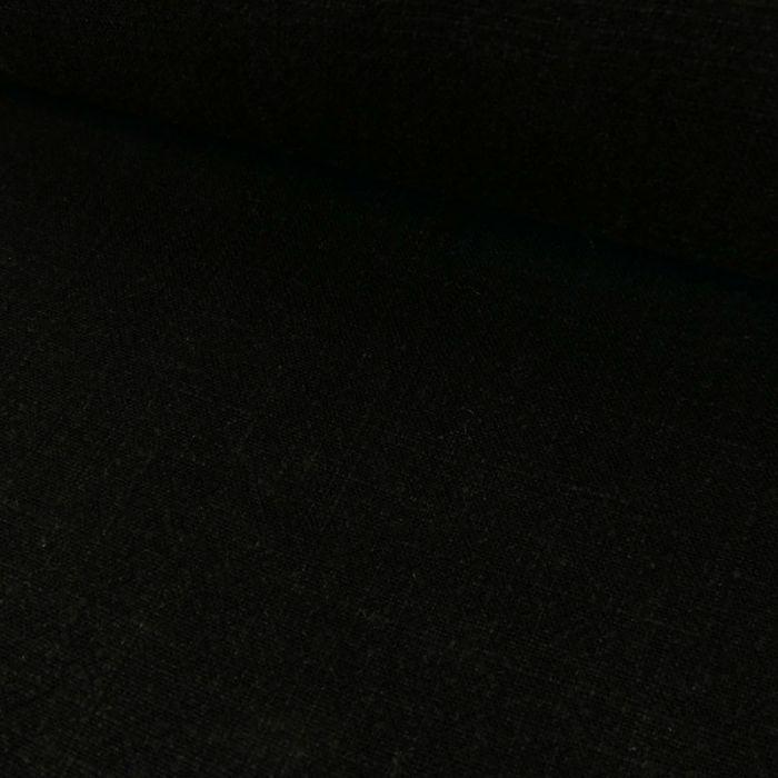 Tissu viscose lin - noir x 10 cm