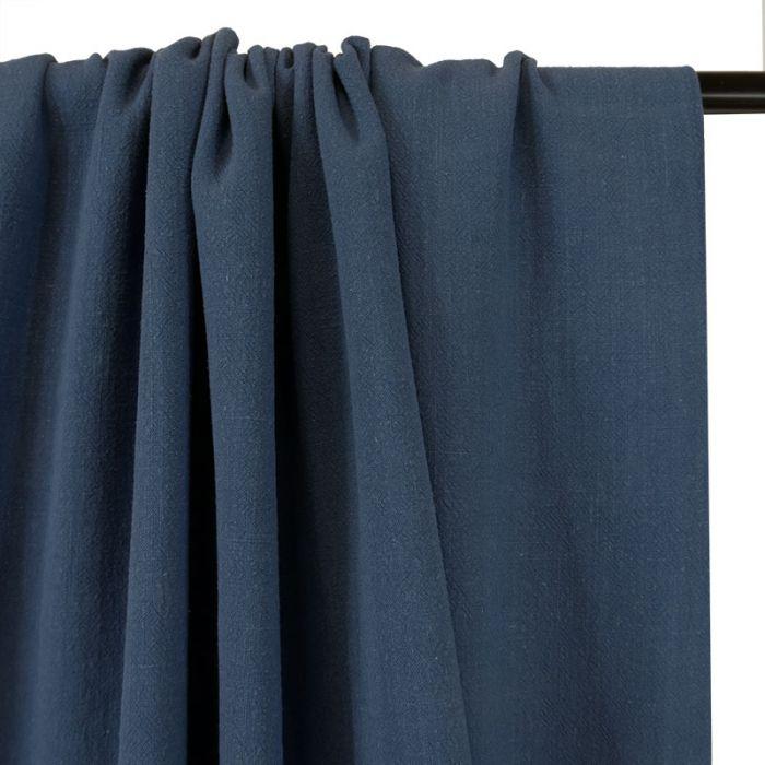 Tissu viscose lin - bleu denim x 10 cm