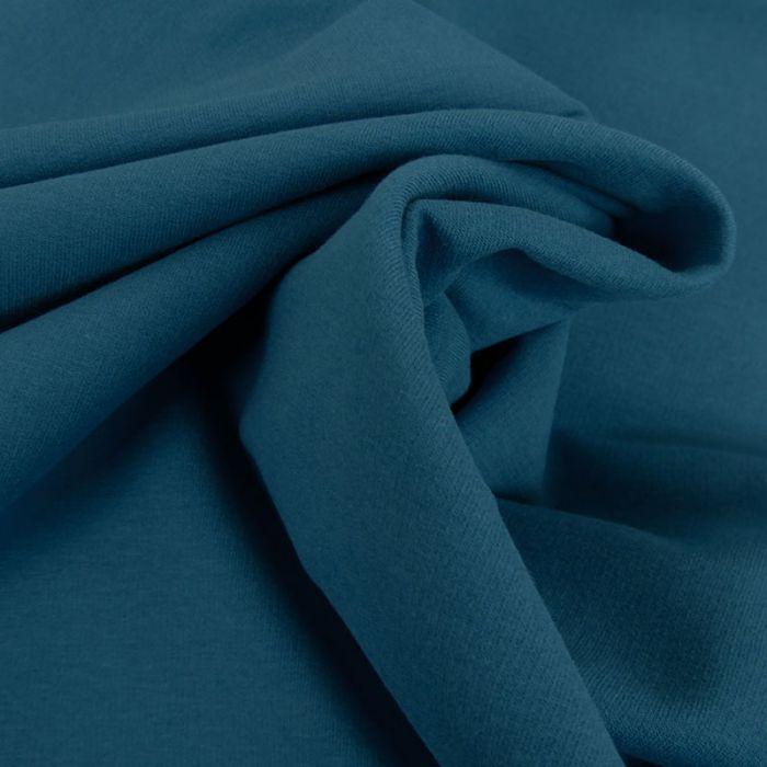 Tissu jersey sweat léger bio uni - bleu jeans x 10 cm