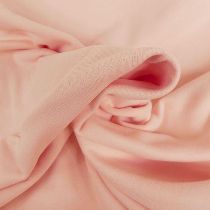 Tissu jersey sweat léger bio uni - rose clair x 10 cm