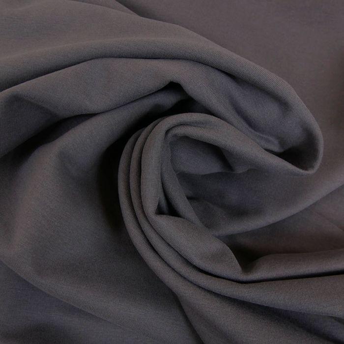 Tissu jersey sweat léger bio uni - gris foncé x 10 cm