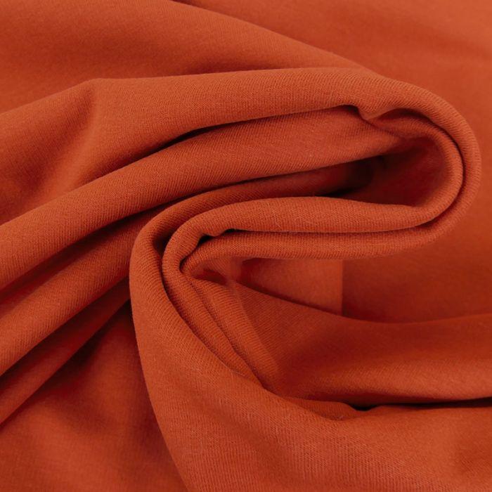 Tissu jersey sweat léger bio uni - rouille x 10 cm