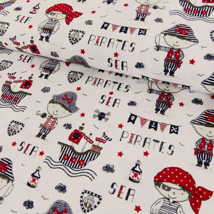 Tissu coton pirates blanc - Poppy x 10 cm