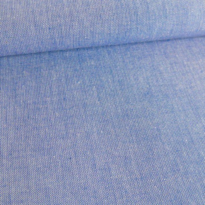 Tissu chambray - bleu x 10 cm