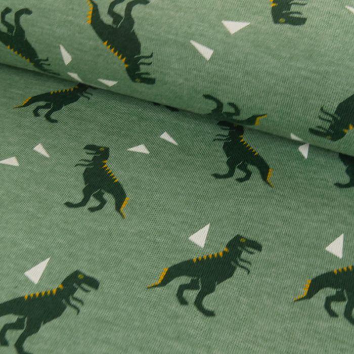 Tissu jersey fin dinosaures - vert x 10 cm