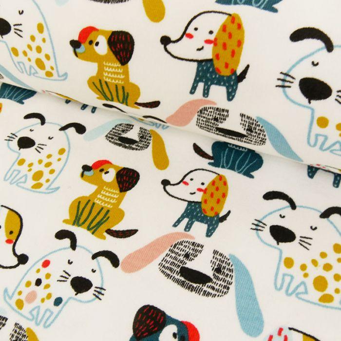 Tissu jersey gratté chiens - blanc x 10 cm