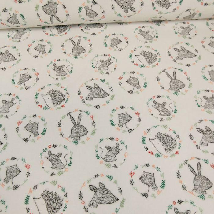 Tissu jersey pilou animaux - blanc x 10 cm