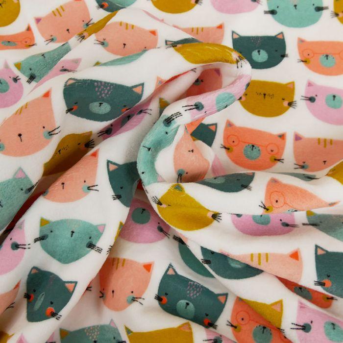 Tissu jersey pilou chats - blanc x 10 cm