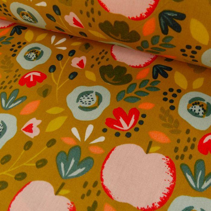 Tissu coton enduit pommes fleurs - moutarde x 10 cm
