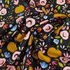 Tissu coton enduit pommes - noir x 10 cm