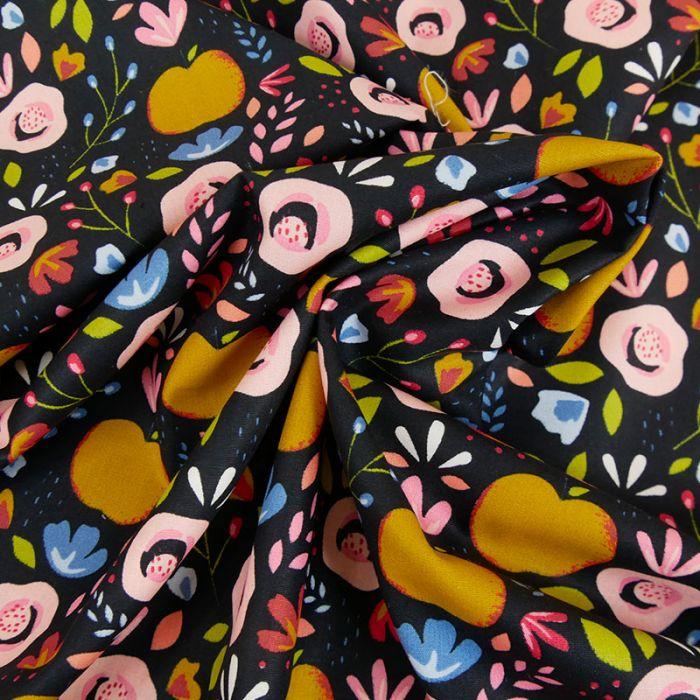 Tissu coton enduit pommes fleurs - noir x 10 cm