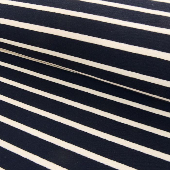 Tissu jersey marinière blanc - bleu marine x 10 cm
