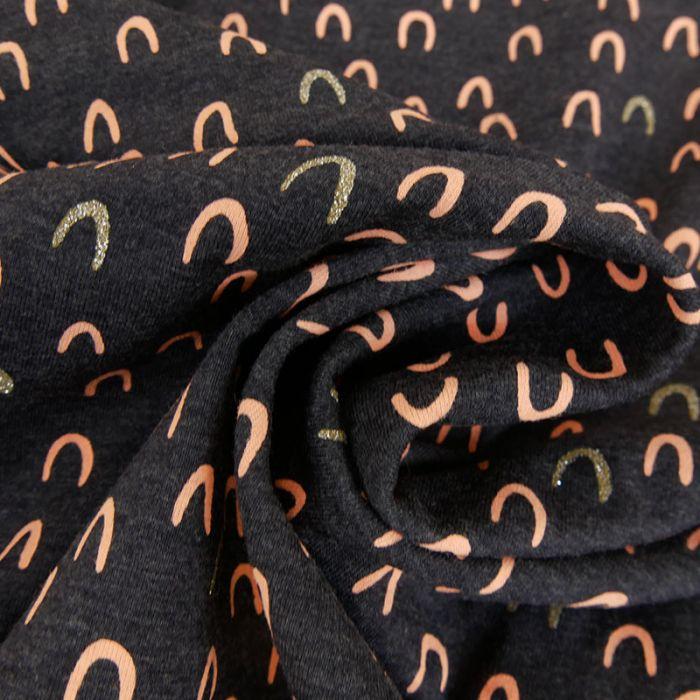 Tissu jersey arc-en-ciel glitter - gris foncé x 10 cm