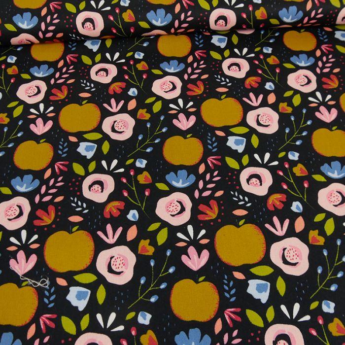 Tissu coton pommes fleurs noir - Poppy x 10 cm