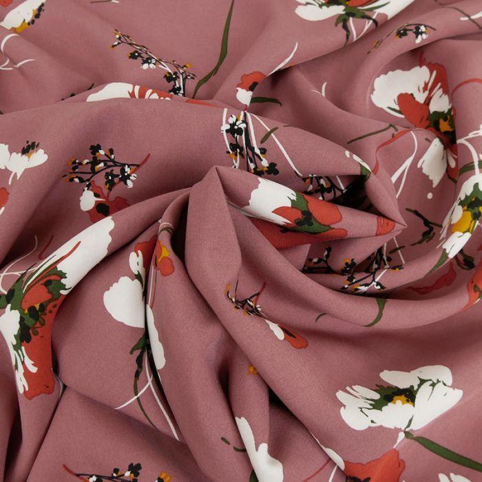 Tissu viscose fleurs blanches - vieux rose x 10 cm
