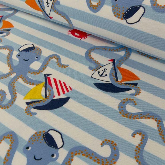 Tissu jersey pieuvres rayures bleues - blanc x 10 cm