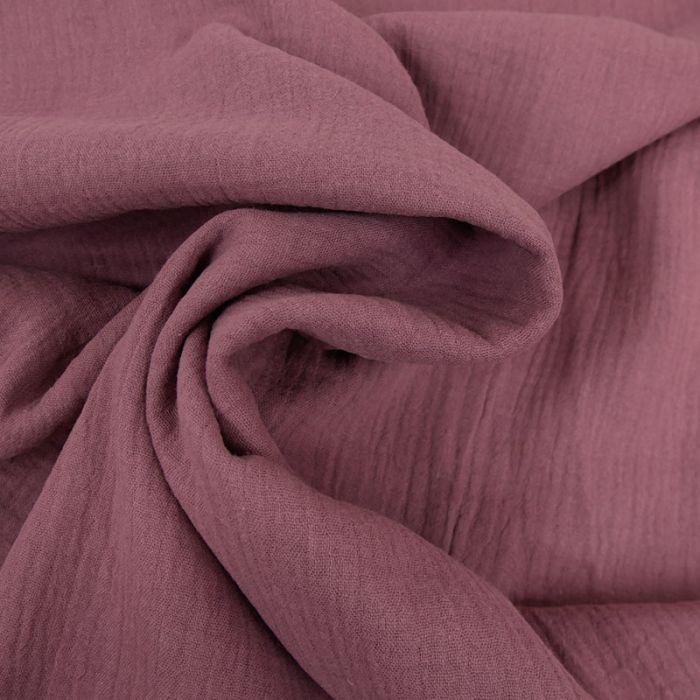 Tissu double gaze - mauve x 10 cm