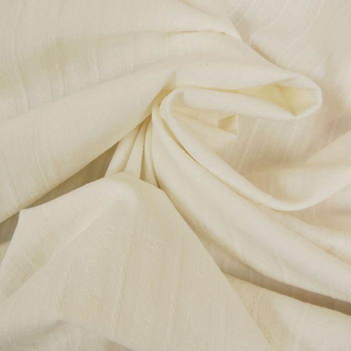 Tissu coton rayures brodées - blanc cassé x 10 cm