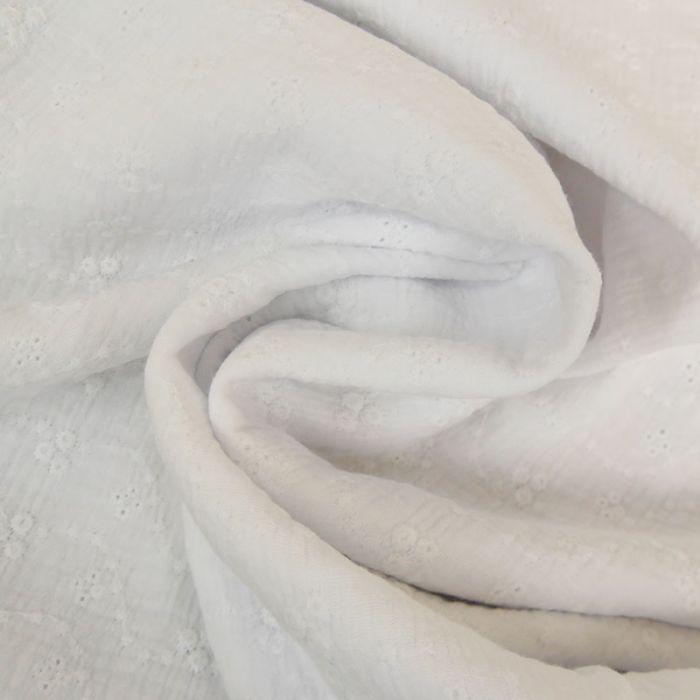 Tissu double gaze fleurs brodées - blanc x 10 cm