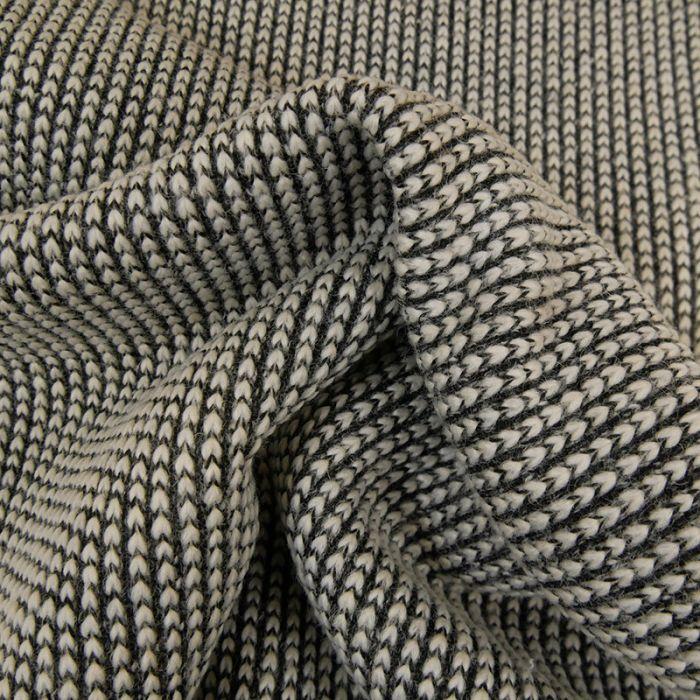 Tissu laine et soie texturé noir - blanc x 10 cm