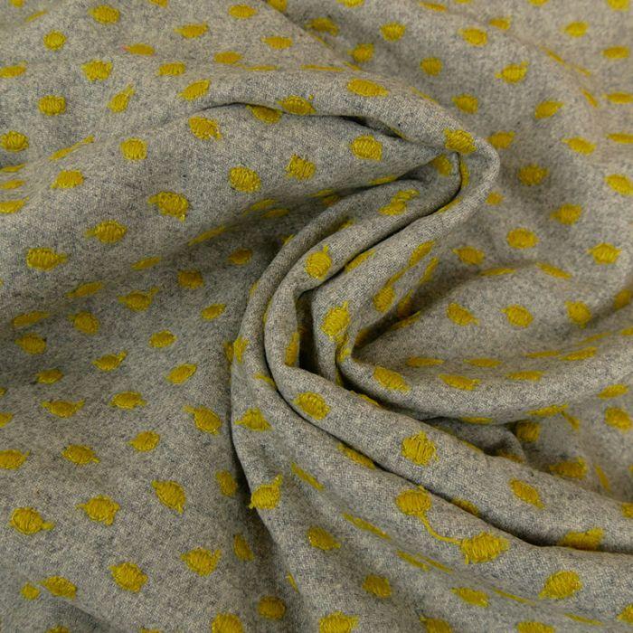 Tissu lainage viscose fin ronds jaunes - gris clair x 10 cm