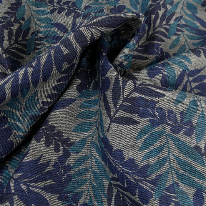 Tissu denim feuilles bleues - gris x 10 cm