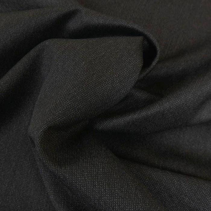 Tissu laine et cachemire fin - noir chiné x 10 cm