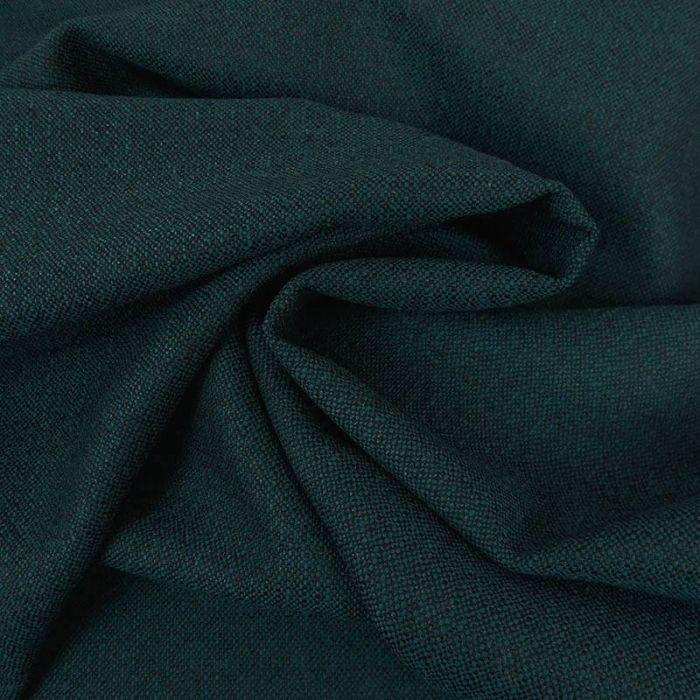 Tissu lainage fin fil-à-fil - bleu canard x 10 cm