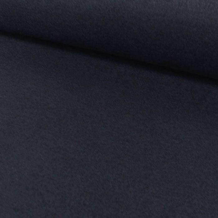 Tissu jersey interlock gratté - bleu marine x 10 cm