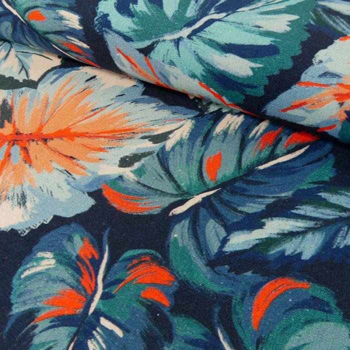Tissu viscose lin feuilles oranges - marine x 10 cm